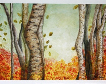 Birch Forest, trees, woods, Autumn, Fall, orange, yellow, red, green, water color