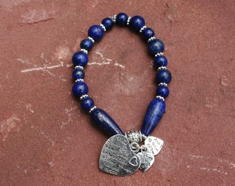 Afghan Lapis Lazuli Bracelet With Sterling Silver Heart With I Love You In Different Languages And Made With Love Hearts
