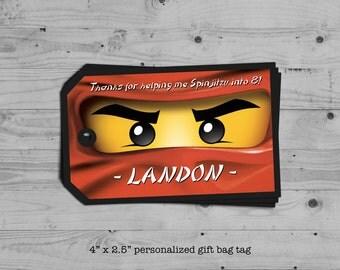 Ninjago birthday gift bag tag - personalized with your child's name - digital / printable