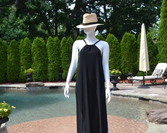 Full length black and white swimwear cover up.