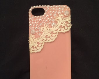 Pink Pearl and Lace iPhone 5 Case