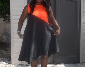 SALES, Loose summer fitting, uneven asymmetrical hem, sleeveless, bold, handmade dress, plus size available, any occasion,sizes 6-22