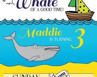 Ocean Birthday Invitation Printable - Custom - Whale Waves Water Swim