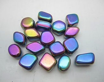 Bulk 1/2 Pound Medium Sized Tumbled Polished Rainbow Hematite 14-18 PCS