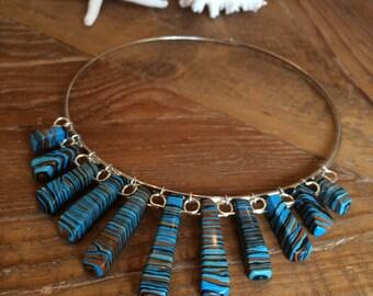 Turquoise necklace, torc necklace, turquoise torc necklace, silver-plated torc necklace,  collar necklace, December birthstone,