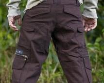 Dark Brown Three Quarters Cargo Pants Shorts Functional Multiple Pockets zips Rave Gypsy Festival Tribal Heavy Duty Mens Clothing AJJAYA