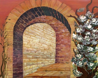 Archway, acrylic painting, original, painting in Bordeaux, Brown, beige and yellow tones