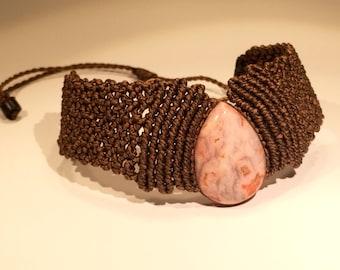 Brown Macrame Bracelet with Pink Stone