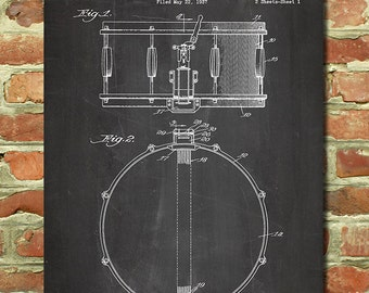 Drum Art, Drum Decor, Snare Drum Wall Art, Drum Gift, Drum Kit Art, Music Gift, Gift for Musician Gift Idea, Patent, Snare Drum Poster P110