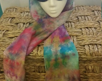 Hand dyed silk scarf, jewel toned, 8 x 72 inches