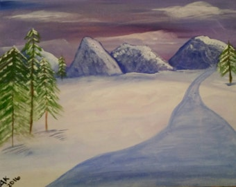 Serenity, Acrylic Painting, Mountain scene painting