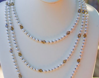 Triple Stand Glass Pearls Statement Necklace  Austrian Crystal Beads