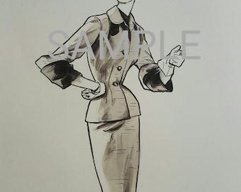 Vintage print, fashion, classy woman, vintage suits, 1940s, World War 2, newspaper fashion ad