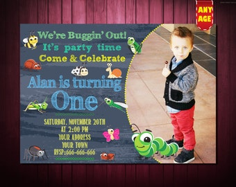 1st Birthday Invitation,Bug Birthday Invitation,Bug Party Invitation,Bugs Birthday Invite,1st 2nd 3rd 4th 5th 6th 7th kids birthday