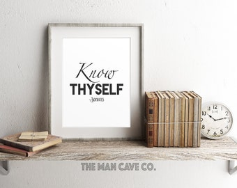 Black and white wall art, Printable home decor, Socrates poster print, Know thyself quote, Simple wall art, Minimalist art print, Manly art