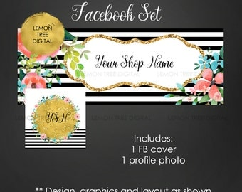 Facebook cover photo set, facebook set, floral set, watercolor, black white gold banners, rustic, chic banner, facebook graphics