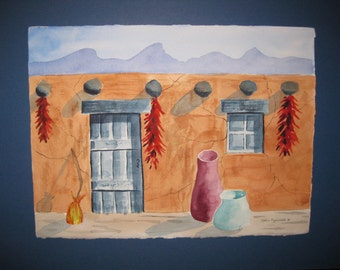 16x20 Watercolor  Adobe, Original, matted, included, optional