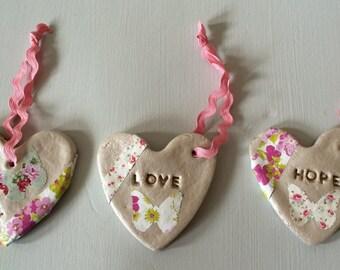 Inspirational trio of salt dough hearts