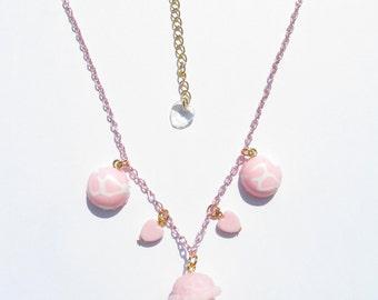 STRAWBERRIBBON ICE CREAM Necklace - Kawaii, sweet lolita, fairy kei, pastel, pink, strawberry, harajuku, vanilla, decora, food, cute