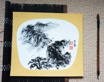 Original Chinese Ink and Wash Painting - Zen Mountain View, 山, 24x27cm, Chinese Painting, Wall Art, Home Decor, Great Gift!