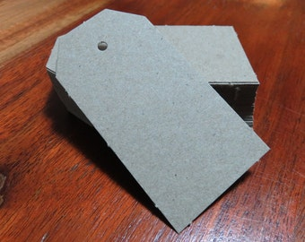 10, 25, 50 or 100 small luggage-tag style recycled card gift tag