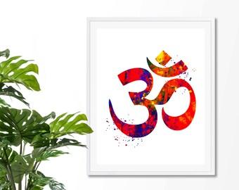Om Symbol #1  Watercolor Art Print, Om Wall Art, Poster, Giclee,  Home Decor, Buddhist Symbol, Yoga, Zen decor