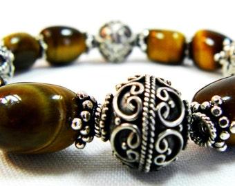 Handmade Tigereye Bracelet with Sterling Silver