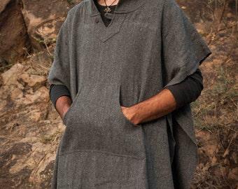 Wool Poncho with Hood