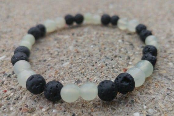 Black Lava Rock and Jade Essential Oil Bracelet on Stretch String