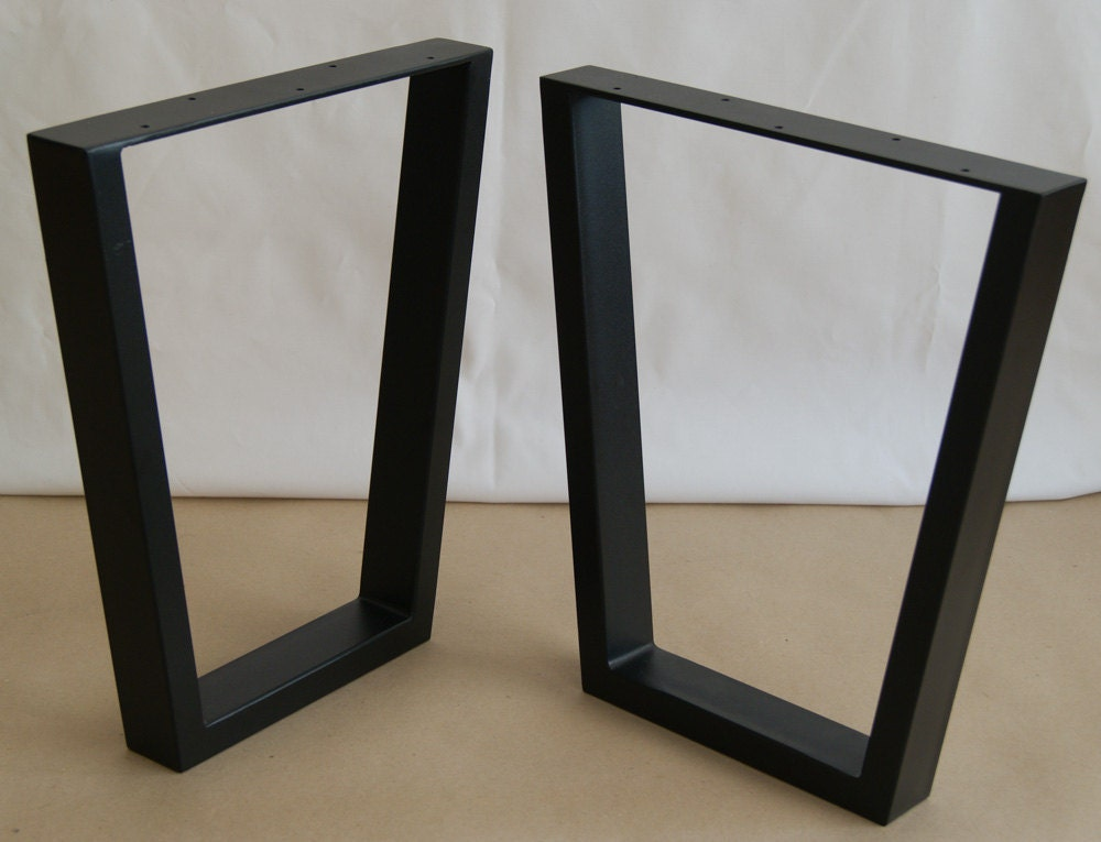 Trapezoid steel bench legs coffee table legs bench base for Metal end table legs