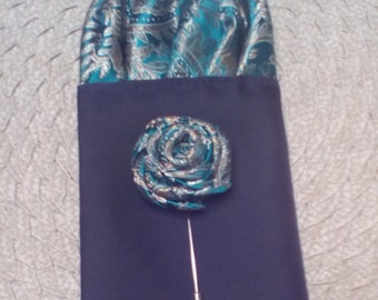 Handcrafted Pre Fold Pocket Square Insert & Flower Pin