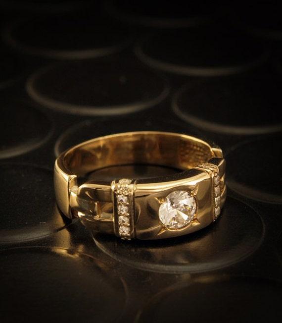 Unique signet ring Men gold signet ring Yellow gold ring CZ