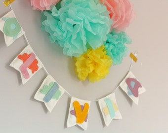 Personalised Pastel Cloud and Flag Name Garland - Felt Name Garland - Baby Nursery Name Garland