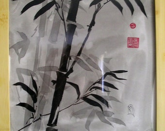 Bamboo Sumi-e Ink Painting Original 10x10inches Bamboo Frame Brush Stroke Art Black Red Asian