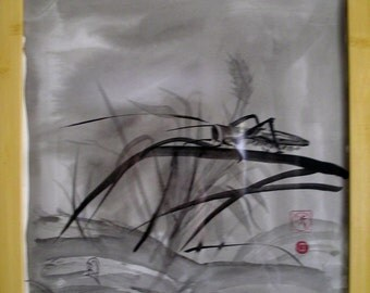 Sumi-e Ink Painting of Grasshopper in Wheat Field black and white Asian Oriental Small Art Framed with Bamboo Frame