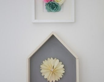 Frame with dimensional flowers