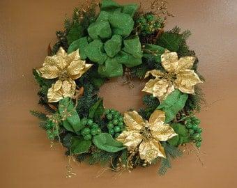 Green & Gold Poinsettia Christmas Wreath- Front Door Wreath-Winter Wreath-Winter Welcome Wreath Green Bow-Gold Poinsettia
