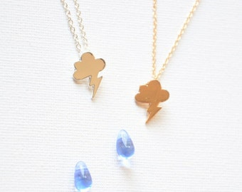 Rain cloud necklace, Cloud jewelry, Weather necklace, British weather gift, Lightning bolt, Rainy day, Raindrops, Motivational, Meteorology