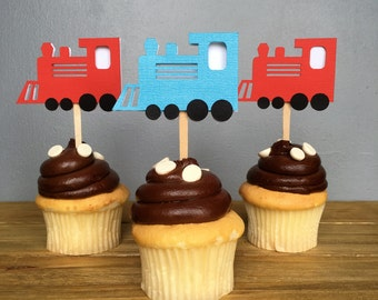 12 Blue and Red Train Cupcake Toppers, Train Food Picks, Train Cake Topper, Train decoration, Choo Choo, Train Birthday, Train party