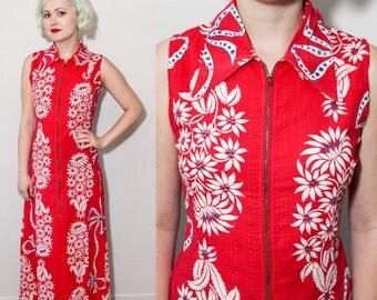 1940's Long Zipper Front Hawaiian Floral Print Cotton Hostess Dress / Small