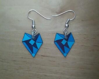 Earrings blue origami heart