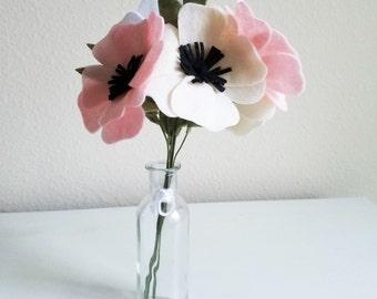 Anemone Bouquet / Felt Flower Bouquet / Wedding Bouquet / Bridesmaid
