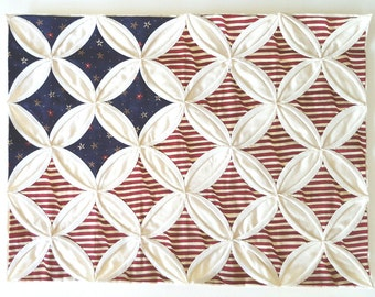 Cathedral Window Flag Quilt, Wall Hanging, Pillow Front for Throw Pillow, Home Decor, Red, White, Blue, Hand Quilted, Hand Made