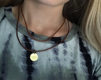 Leather Cord Wrap Around Necklace with Antique Bronze Disc Pendant 36 inches