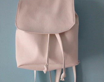 White faux leather backpack Cotton Candy