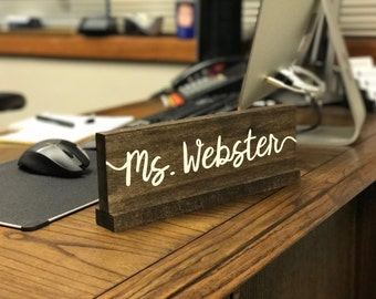 Personalized Desk Name Plate / Teacher Wooden Nameplate / Doctor name plate / Custom Office Name Sign / Classroom Sign / Gift For Teachers