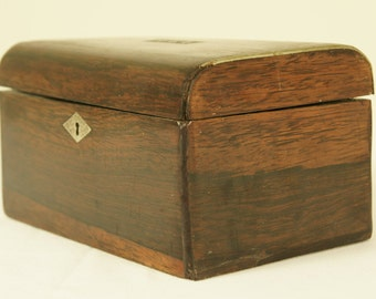 B087 Antique Victorian Rosewood Tea Caddy, Box