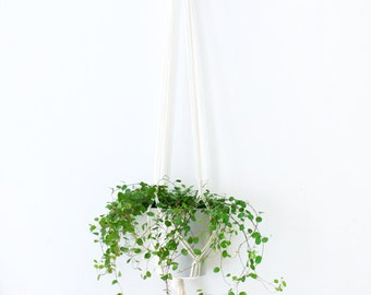 Suspension of plant in macrame color chalk - 125 cm long