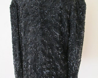 1980s vintage black silk sequin cardigan jacket L/XL