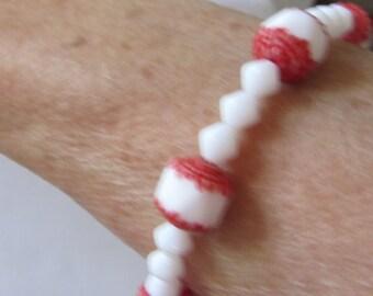 bracelet red white beads elastic